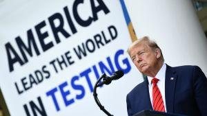 Yhdysvaltain presidentti Donald Trump mikrofonin edessä.