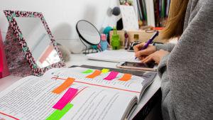 En långhårig person sitter vid ett skrivbord och gör läxor.