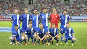 Finlands startelva mot Grekland den 4 september.