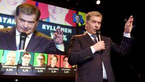 Sauli Niinistö håller tal på sin valvaka.