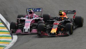 Esteban Ocon och Max Verstappen kolliderade då nederländaren ledde loppet.