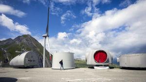 År 2016 byggdes Europas största vindpark i Valais, Schweiz. Möllornas blad är 45 meter långa och väger 11 ton.