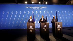 Europeiska rådets ordförande Donald Tusk, Estniska premiärministern Juri Ratas och kommissionens ordförande Jean-Claude Juncker.