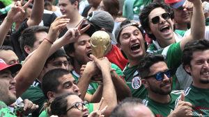 Mexikanska fotbollsanhängare firar.