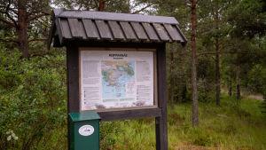 En karta över Kopparnäs friluftsområde
