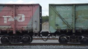 Ryska tågvagnar som transporterar kol från Sibirien till Hangö.