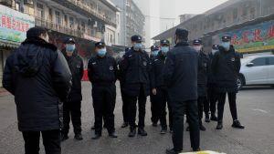 Säkerhetsvakter står utanför den stängda fisk- och skaldjursmarknaden i den kinesiska staden Wuhan.