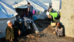 Flyktingar och tält i flyktinglägret Kara Tepe