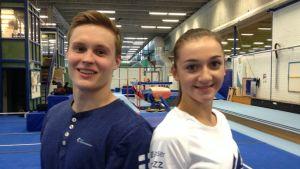 Gymnasterna Oskar Kirmes och Ekaterina Volkova inför OS-kvaltävlingen i Rio, april 2016