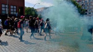 Motdemosntranter under AfD:s demonstration i Berlin i maj 2018.