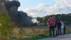 Personer som står med ryggen mot kameran och ser på en fabrik som brinner.