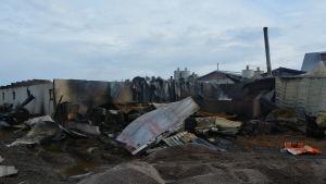 Svingården i Kimo efter branden.