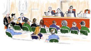 En tecknad bild från rättsalen när rättegången mot Asap Rocky/Rakim Mayers pågår.