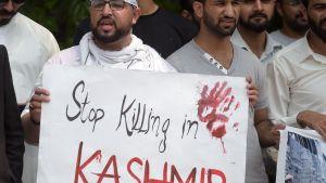 En demonstrant i den pakistanska delen av Kashmir kräver ett slut på våldet.