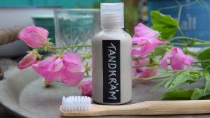 En plastflaska med hemgjord tandkräm och en tandborste av bambu. I bakgrunden en luktärt.