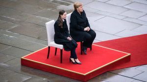 Statsminister Sanna Marin och förbundskansler Angela Merkel.