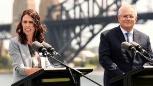 Jacinda Ardern och Scott Morrison 28.2.2020 i Sydney