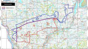 Kartta alueesta, jonka Latitude 66 Cobalt Ltd haluaa varata.
