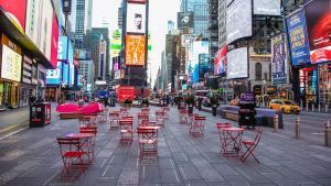 Ett tomt Times Square.