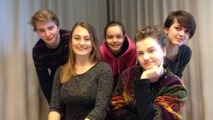 Patrik Kumpulainen, Vivi Lindberg, Caisa Calin, Li Krook och Mimosa Willamo