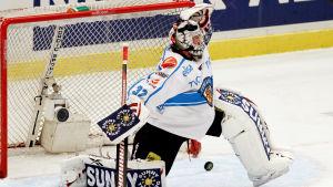 Blåvit finländsk ishockeymålvakt gör en räddning.