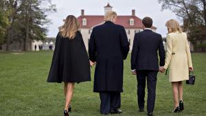 USA:s och Frankrikes första par besöker George Washingtons hem Mount Vernon.