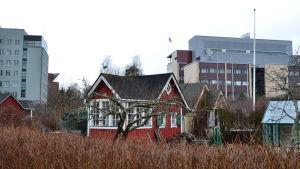 En kolonistuga med kontorsbyggnader i bakgrunden.