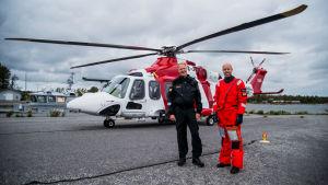 Martin Saarinen och David Magnusson framför en räddningshelikopter.