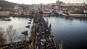 Demonstration i Prag.