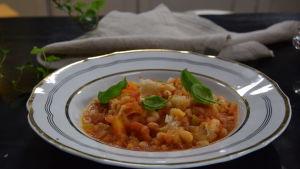 Portion med toskansk brödsoppa i ett kök