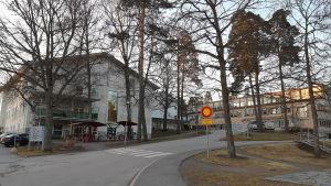 En bild på Raseborgs sjukhus byggnader och vägen som leder fram till dem.