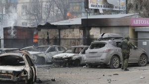 Mariupol i östra Ukraina efter en raketattack den 24 januari 2015