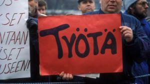 Työttömien mielenosoitus Helsingissä marraskuussa 1993, ns Murrostorstai