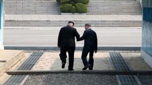 Sydkoreas president Moon Jae-In tar tillsammans med Kim Jong-Un steget tillbaka över stilleståndslinjen in på nordkoreansk mark.