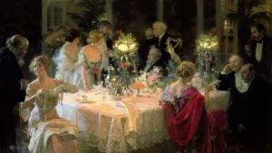 "Bild på tavlan ""The end of Dinner"" av konstnären Jules-Alexandre Grün."