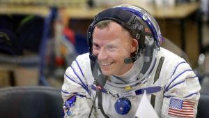 Astronauten Nick Hague inför färden till den internationella rymdstatsionen.