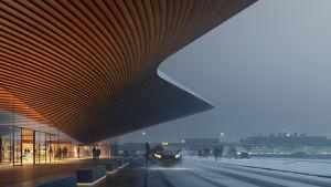 En visualisering av den nya ingången till terminal 2 vid Helsingfors-Vanda flygplats.