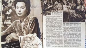 Kuva sota-ajan suomalaisen elokuvalehden SF-uutisten aukeamasta, jolla juttu Hedy Lamarrista.
