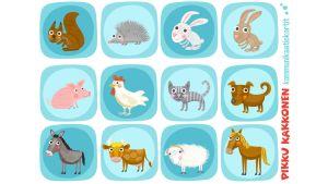 Pikku Kakkosen kommunikaatikortit kotimaiset eläimet