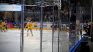 Ishockeyspelare fotade genom plexiglas.