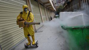 Suojavarusteissa oleva henkilö ruiskuttaa desinfiointiainetta roskatynnyreiden päälle kauppakujalla Wuhanissa.