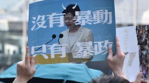 Fjolårets demonstranter visade sin avsky för Hongkongs ledare Carrie Lam. Idag skulle det sannolikt vara ett brott mot säkerhetslagarna att visa upp en sådan affisch.