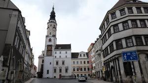 Det är folktomt i centrum av den tyska staden Görlitz