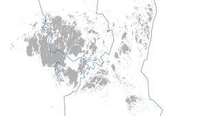 Karta över Åland med fyra kommuner.
