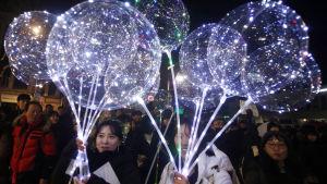 Sydkoreaner firar nyåret 2018.