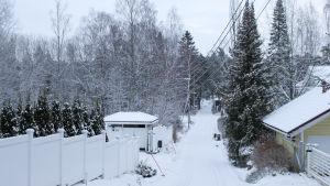 en snöig väg, staket och hus och skog kring den smala vägen