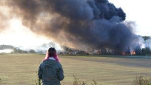 En kvinna som står med ryggen vänd mot kameran och ser på en stor fabrik som brinner.