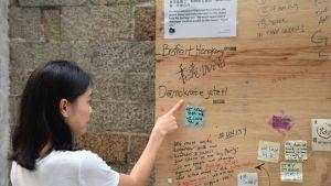 Kvinna pekar på plakat i trä. Ordet demokrati står skrivet på plakatet.