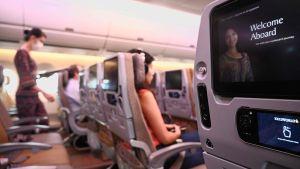 Tomma bänkrader i ett flygplan. Selektivt fokus på en skärm fäst på ett säte. I bakgrunden ser man flera tomma platser i flygplanet.