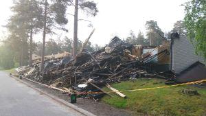 En radhuslänga brann i Ekenäs i juni 2020.